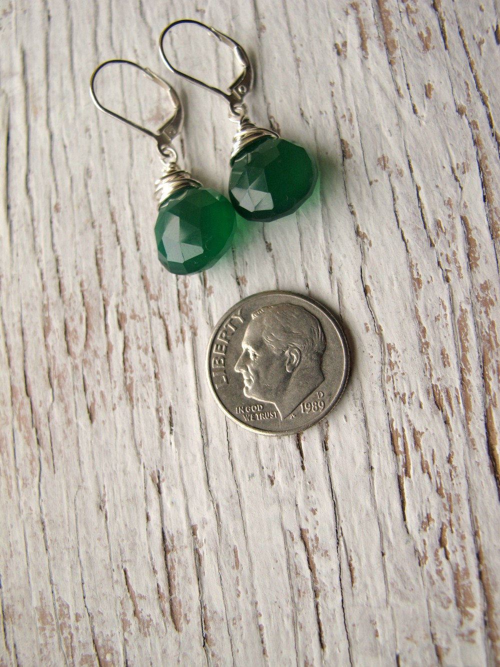 Emerald Green Chalcedony Earrings