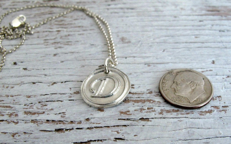 Wax Seal Inspired Initial, Fine Silver