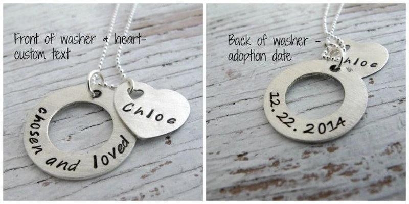 Adoption Necklace, Personalized, Chosen and Loved