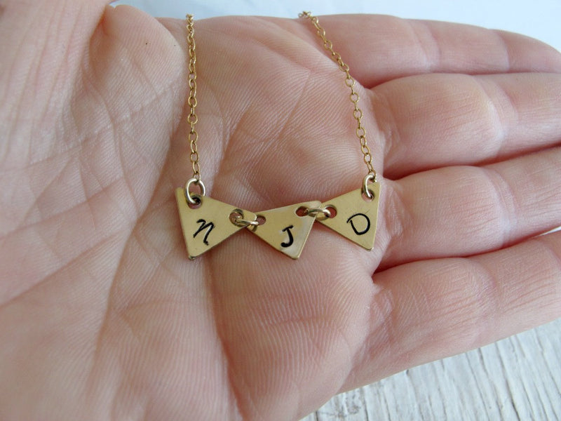 Gold Triangle Pennant Necklace