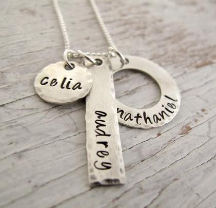 Personalized Mother's Necklace, 3 Kid's Names