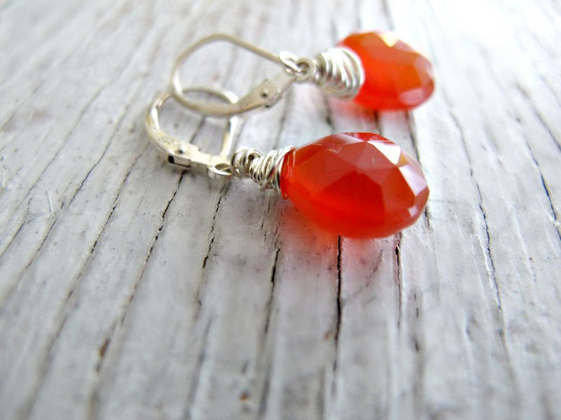 Chalcedony Carnelian Orange Earrings