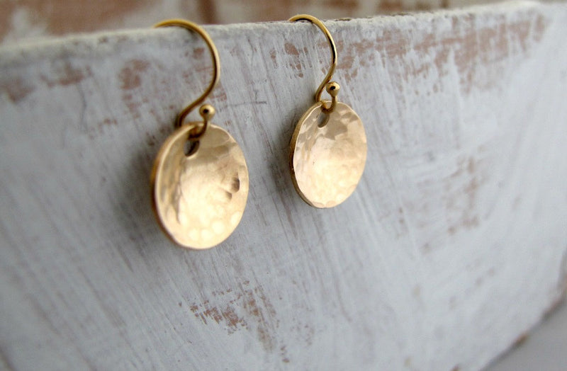 Gold Hammered SMALL Bowl Earrings