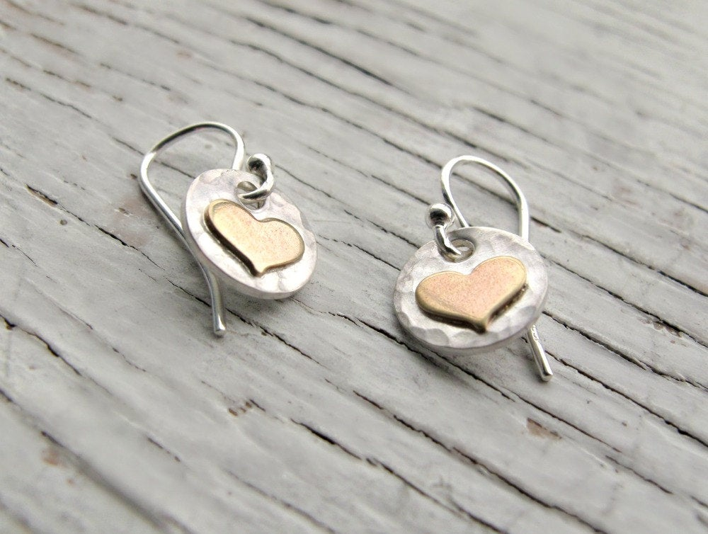 Sterling Silver & Gold Heart Earrings
