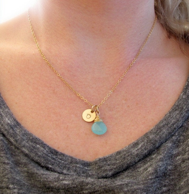 Gold Initial Necklace, Aqua Blue Chalcedony