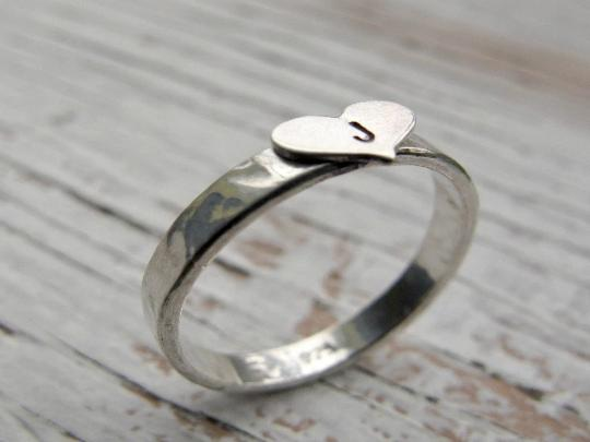 Personalized Ring, Heart Initial