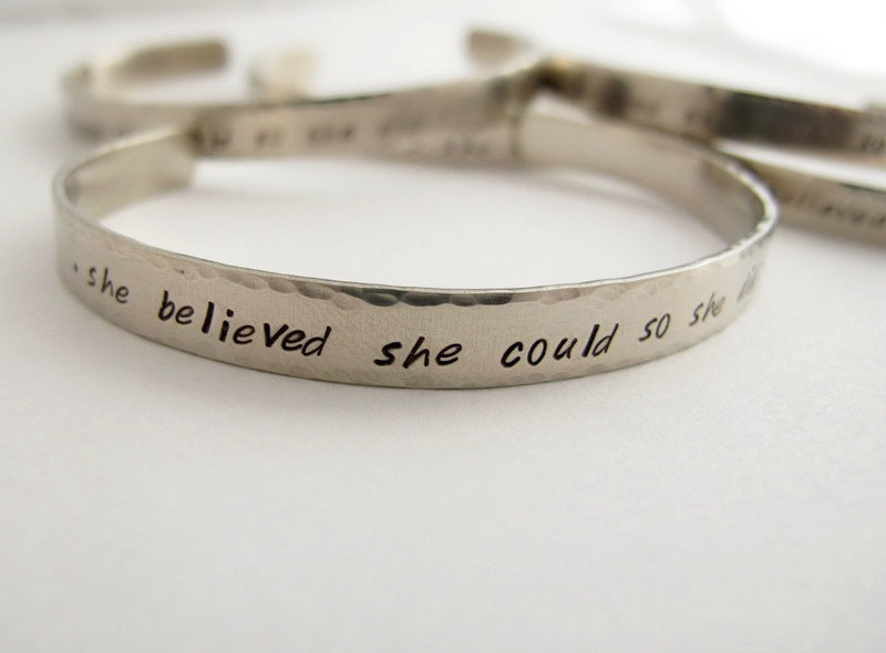 She believed She Could So She Did Silver Cuff