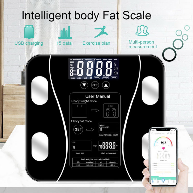 Body Fat Scale Floor Scientific Smart Electronic LED Digital Weight Bathroom Balance Bluetooth APP Android or IOS