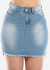 Light Wash High-Low Denim Skirt