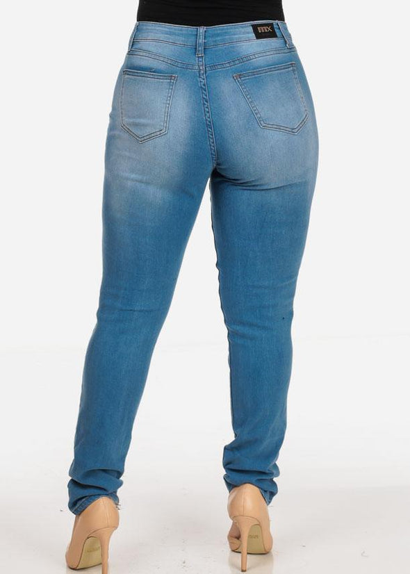 Plus Size Ripped Med Wash Jeans