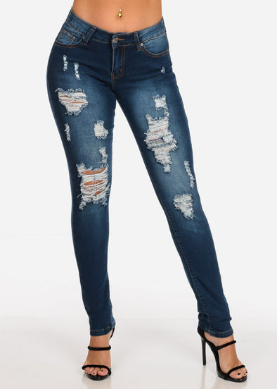 Mid Rise Dark Blue Ripped Skinny Jeans