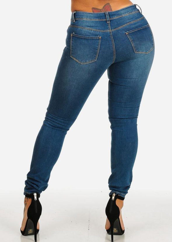 Low Rise Ripped Med Wash Skinny Jeans