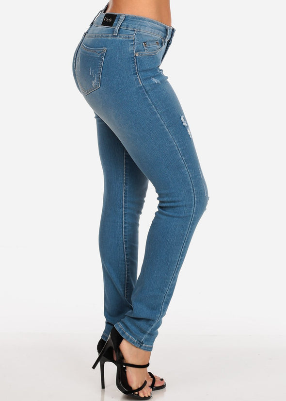 Mid Rise Ligth Wash Ripped Skinny Jeans