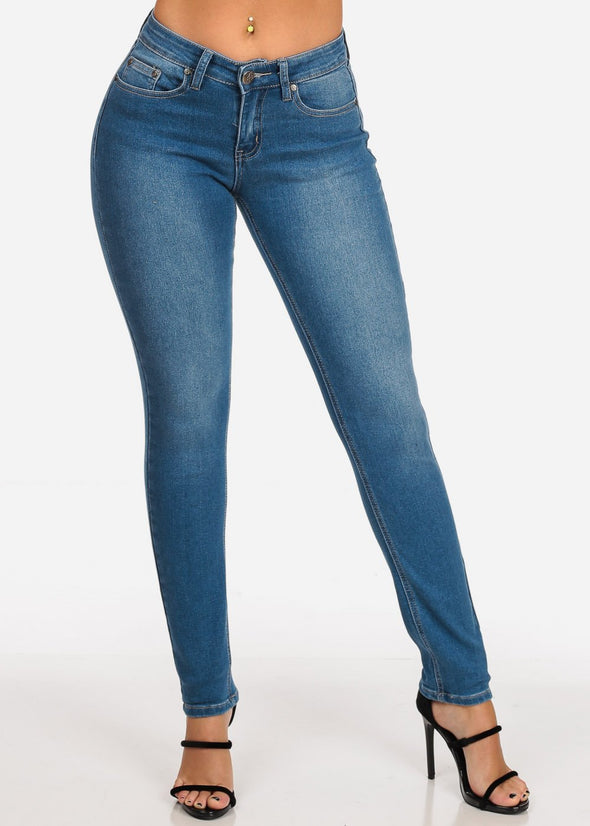 Low Rise Med Wash Skinny Jeans