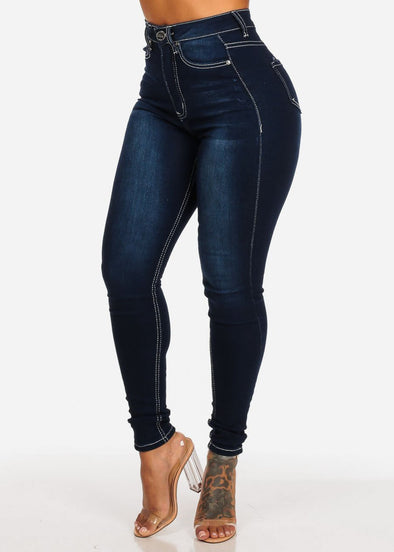 Classic Dark Wash High Waist Skinny Jeans