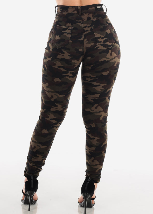 High Waist Camouflage Skinny Jeans