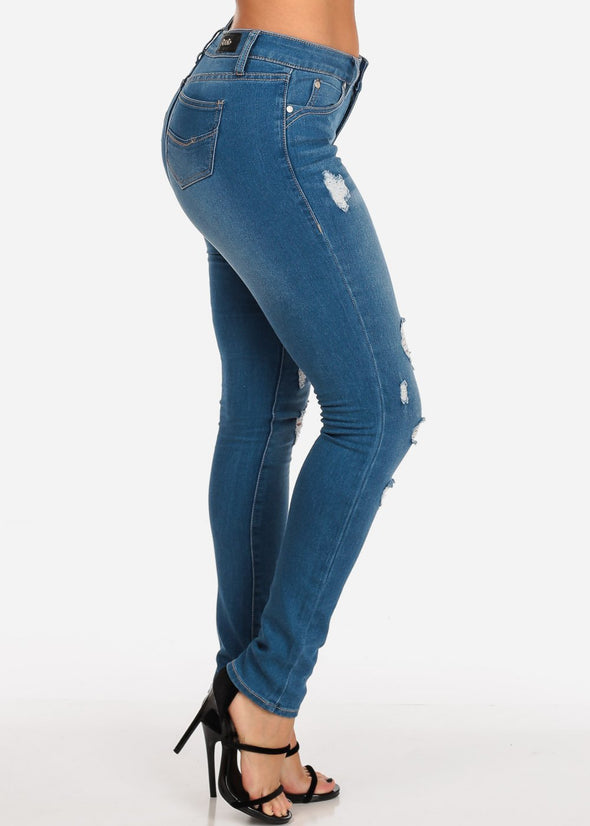 Distressed Med Wash Skinny Jeans