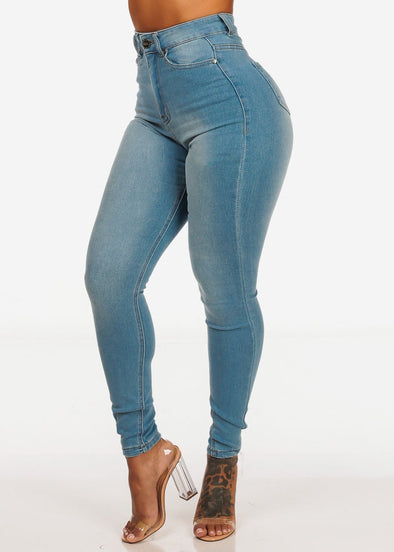 Classic High Waist Light Blue Skinny Jeans