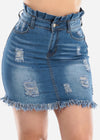 Med Wash High Waist Denim Skirt