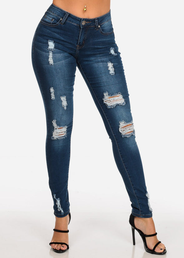Low Rise Dark Wash Ripped Skinny Jeans
