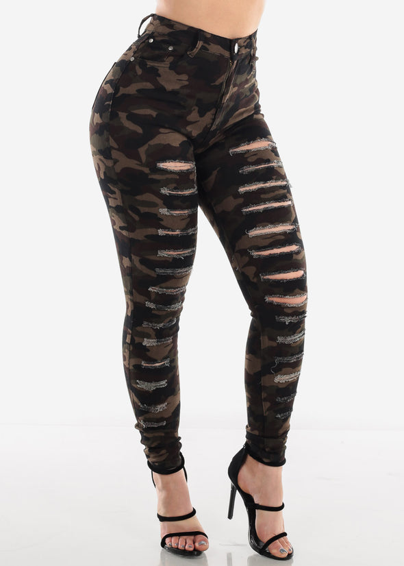 High Waist Ripped Camouflage Skinny Jeans