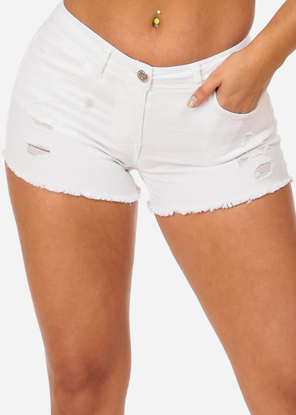 Nine Planet White Cut Off Denim Shorts