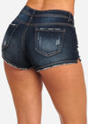 Nine Planet Ripped Dark Wash Denim Shorts