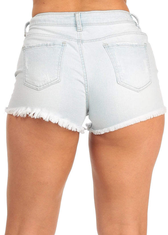 Nine Planet Light Blue Cut Off Denim Shorts