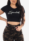 """Spoiled"" Graphic Crop Top"