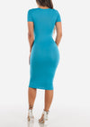 Short Sleeve Bodycon Midi Dress