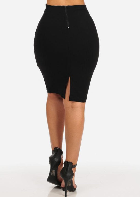 Lace-Up Pencil Midi Skirt