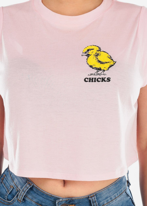 """Chiks"" Graphic Crop Top"