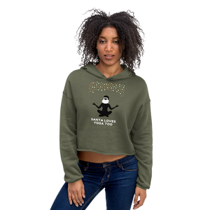 Santa Loves Yoga Too Crop Hoodie