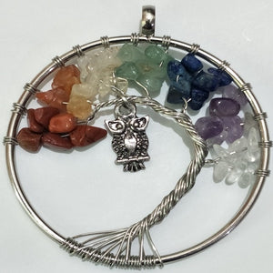 7 Chakra Quartz Natural Stone Tree of Life Pendant Necklace