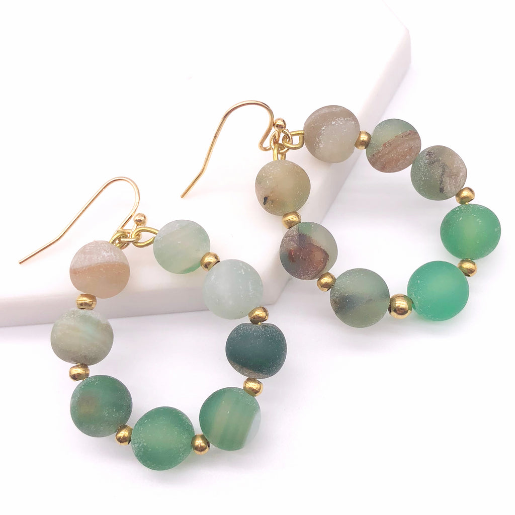 Colorful Natural Semi-precious Stone Drop Earrings