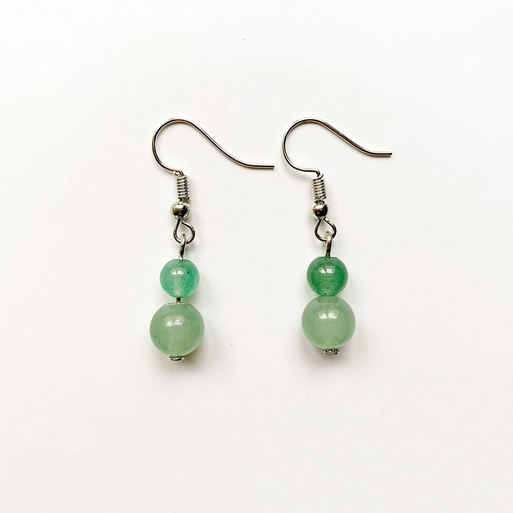 Natural Green Aventurine Stone Drop Earrings