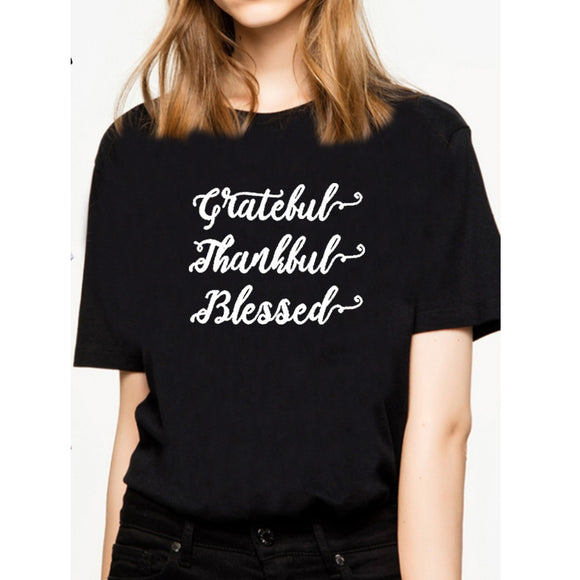 Grateful Thankful Blessed Thanksgiving T Shirt