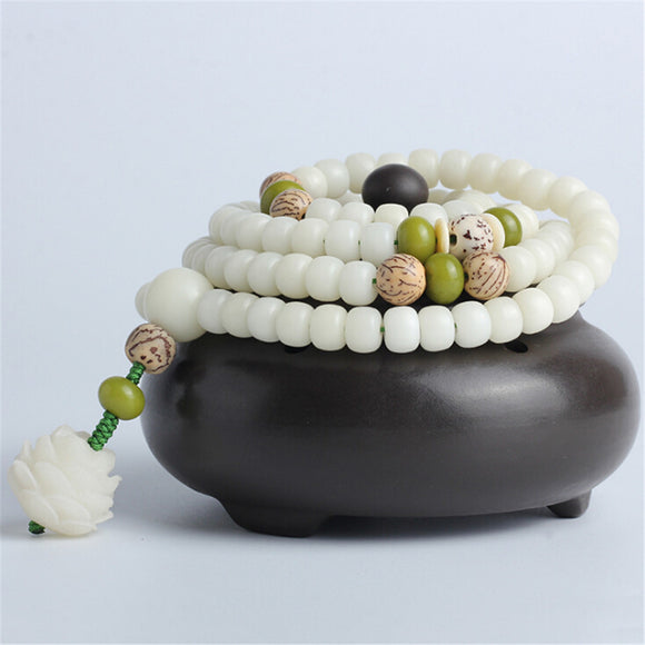 Natural White Bodhi Root Beads Bracelet