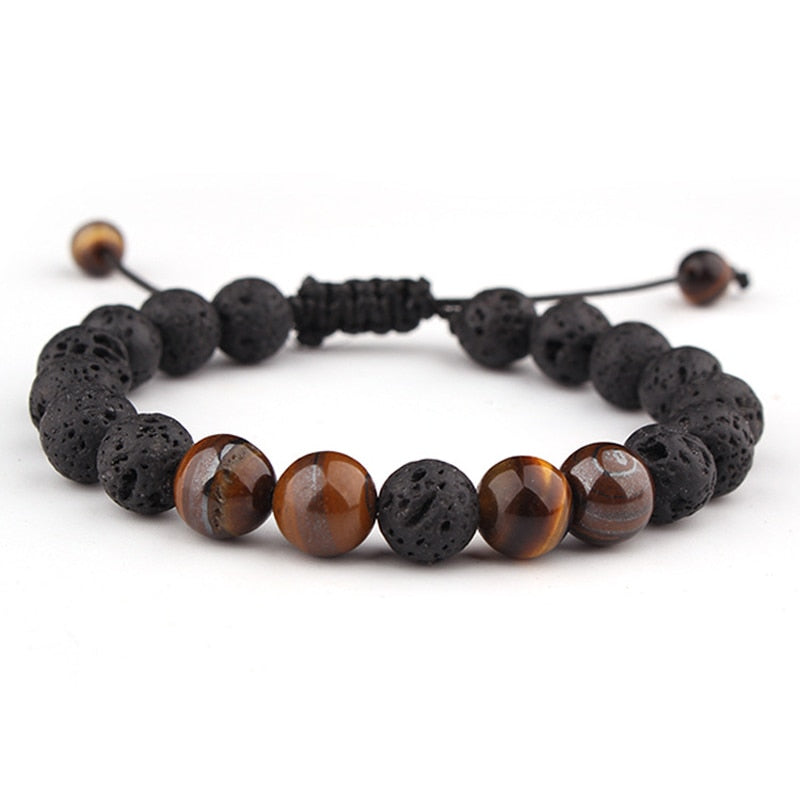 Adjustable Lava Stone Tiger Eye Bracelet
