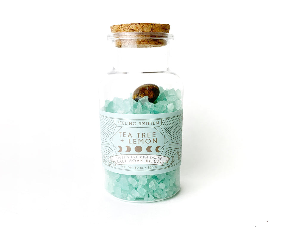 New Moon Salt Bath Ritual Bath Soak + Tiger's Eye - case pack 6 @ $6.50 ea