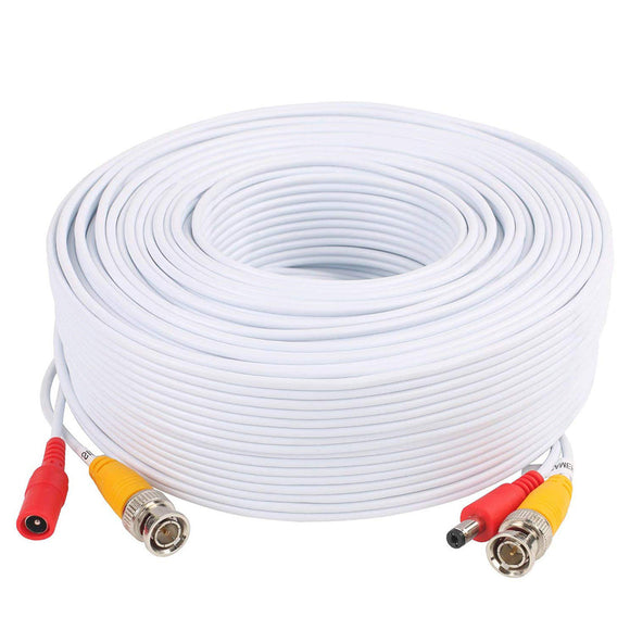 Pre-Made All-in-One BNC Video and Power Siamese Cable with Connector for CCTV Security Camera 100 ft White DIY Cable