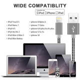 Phone Charger, 4Pack 3FT 6FT 6FT 10FT Nylon Braided Lightning to USB Syncing Data and Fast Charging Cable (2A Grey)