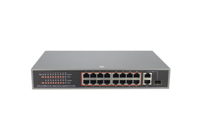 16 Port POE SWITCH with 2 Gigabit Uplink and 1 SFP (POE-2018-16E-250W)