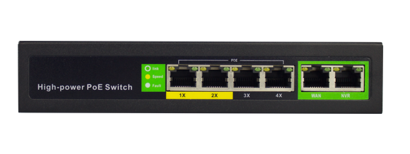 4+2 10/100M Long Distance  PoE Switch-POE-2006-4E-65W