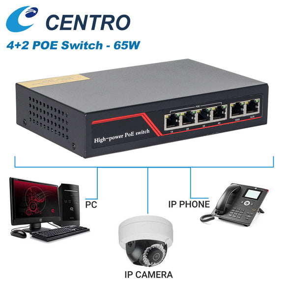 4+2 10/100M ports 4 POE Ports 2X RJ45 Uplink Unmanaged Switch IEEE802.3at 250M