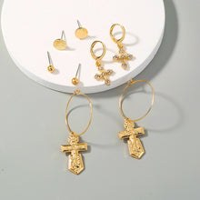 Load image into Gallery viewer, Gold Cross Earrings Set