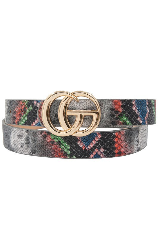Snake Print GO Buckle Belt