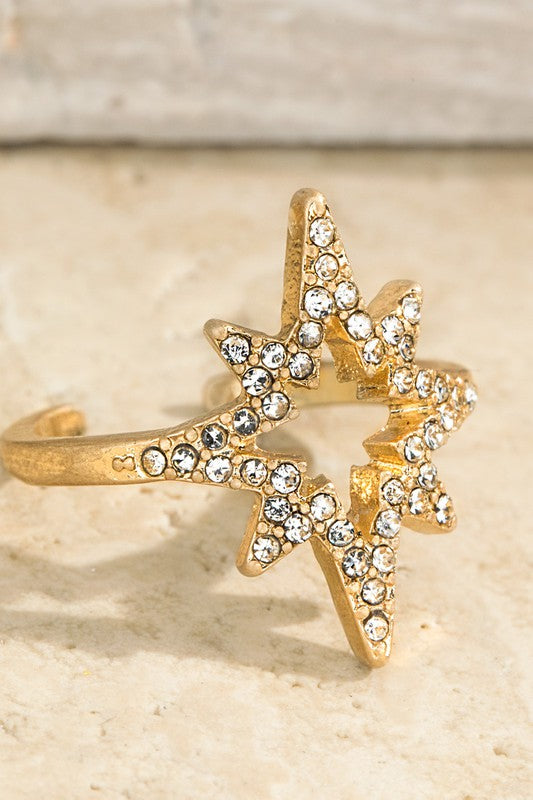 Pave Crystal Starburst Adjustable Ring