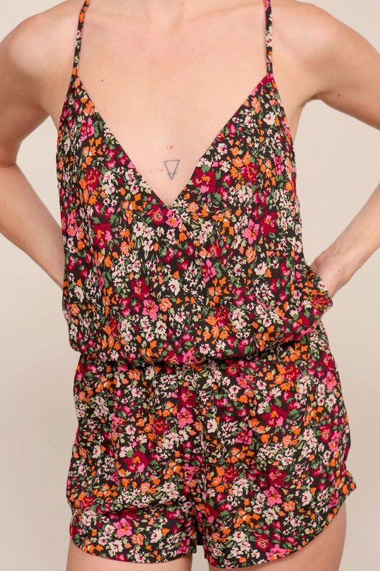 Strappy Floral Romper
