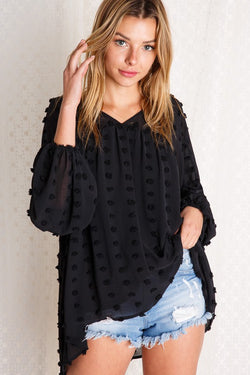 Swiss Dot Flowy Blouse